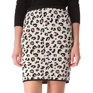 Velvet Belen Knit Leopard Pencil Skirt